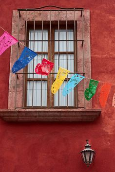 banner of flags in guanajuato, mexico