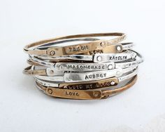 Mother's Bracelet with Stamped Names. Personalized Bangle Bracelet in Sterling Silver or Gold Bronze. Design your own mother's bracelet! Mothers Bracelet, Name Bracelet, Bangle Bracelets, Bangles, Bar Necklace, Personalized Jewelry, Sterling Silver Bracelets, Gifts For Mom, Rings For Men