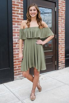 Olive Off The Shoulder Flutter Sleeve Flounce Layer Dress – UOIOnline.com: Women's Clothing Boutique
