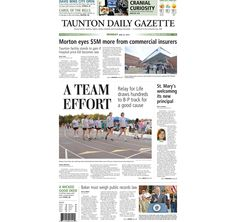 The front page of the Taunton Daily Gazette for Monday, June 22, 2015.