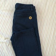 "Tory Burch Skinny Jeans Tory Burch Dark blue jeans..softer than the usual denim. With the TB medallion logo in the front and back giving an elegant look on this pants. Size 27 with 28"" inseam (from crotch to bottom) Tory Burch Pants Skinny"