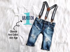 First Birthday Outfit Boy 1st Birthday Personalized Top Distressed Denim Suspender Pants or Shorts Boy Smash Cake Outfit Boy Photo Outfit by BabySquishyCheeks on Etsy https://www.etsy.com/listing/519090053/first-birthday-outfit-boy-1st-birthday