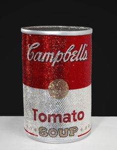 """""""Soup""""er Size Me by Jonathan Stein. Hand-sculpted/cast bronze enlarged replica of original Campbell's soup can; which I then hand jewel encrusted with over Swarovski crystals. Glitter Make Up, Glitter Art, Sparkles Glitter, Diy Crystals, Swarovski Crystals, Rainy Wallpaper, Diamond Glitter, All That Glitters, Bling Bling"""