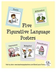 Five 8 1/2 x 11 figurative language posters with cute illustrations to make the point. Metaphor, Simile, Alliteration, Personification and Oxymoron...