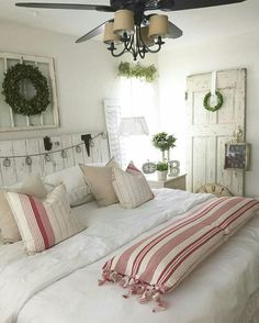 Vintage French Soul ~ Farmhouse Chic Bedroom With A Touch Of Red