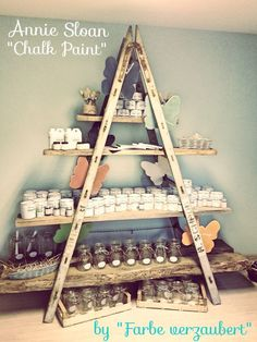 Vintage Shop Inspiration •~• old ladder and boards as display shelves