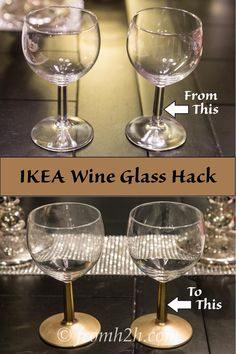 Make your own gold-stemmed wine glasses - perfect for a holiday party or DIY wedding | DIY Gold stemmed wine glasses
