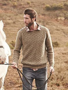 Suffolk - A lovely mens textured sweater by Lisa Richardson in Hemp Tweed (wool . Mens Knit Sweater Pattern, Sweater Knitting Patterns, Knitting Designs, Knit Patterns, Men Sweater, Style Masculin, Tweed, How To Purl Knit, Mens Jumpers