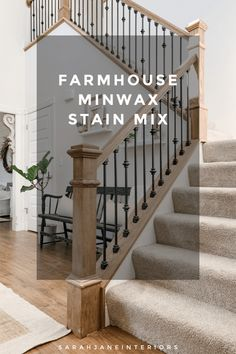 Love that railing! Minwax Stain Colors, Oak Stain, Minwax Gel Stain, Best Wood Stain, Red Oak Floors, Hardwood Floors, Floor Stain, Furniture Makeover, Furniture Refinishing
