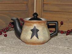 primitive ceramic teapot crackle black star farmhouse country home decor