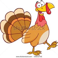 Happy Turkey Cartoon Mascot Character Walking. Vector Illustration Isolated on white