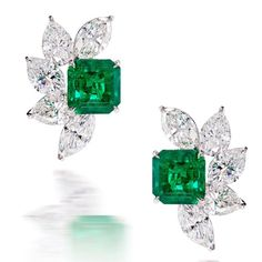LEVIEV #Emerald and #Diamond Earrings totaling 12.67 carats #jewelry