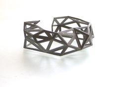 summer fall fashion gray geometric cuff  by ArchetypeZ on Etsy, $38.00