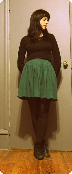 shirt/sweatshop retail (2yo?) skirt/american apparel tights/maggies organics shoes/vintage pleather off etsy necklace/brooklyn thrift store