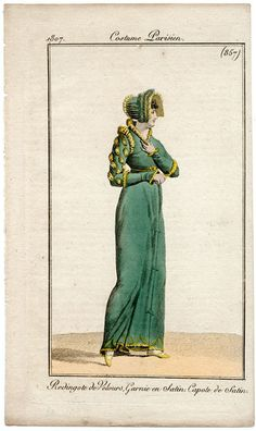 Green gown (have seen same on in belle assemblee), 1807 costume parisien