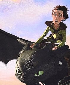 Hiccup and Toothless having fun in the sky.