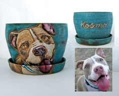 Pitbull portrait on a flower pot as a different kind of memorial. My portraits are more detailed then my graphic images. This flower pot is on brown clay, it's a medium size and the glaze is a turquoise.