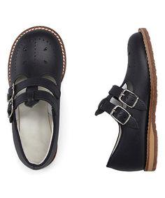 Navy Skipper Leather Double-Buckle Shoe #zulily #zulilyfinds
