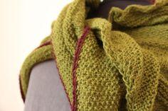 hand knitted lightweight shawl moss green and by Taschenatelier
