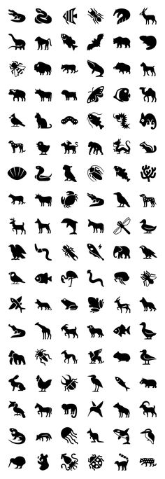 This set contains a load of icons of animals, from invertebrates like corals, slugs and jellyfish, i Cute Tattoos, Body Art Tattoos, Tatoos, Icon Design, Logo Design, Graphic Design, Iphone Icon, Affinity Designer, Animal Logo