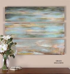 Uttermost Horizon View Hand Painted Panel Set/3