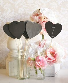 Heart Chalkboard Signs -Table Numbers