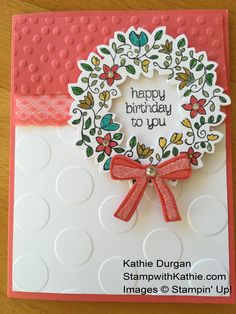 Circle of Spring, In Color Markers, Wonderful Wreath framelits, Large Polka Dots embossing folder, & more - all from Stampin' Up!