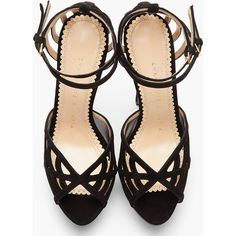 CHARLOTTE OLYMPIA Black Suede Spiderweb Octavia Sandals ($338) ❤ liked on Polyvore featuring shoes, sandals, heels, platform heel sandals, ankle strap sandals, ankle wrap sandals, black high heel sandals and peep toe sandals