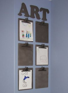 Easy to do kids art display.  So easy to add and change out art projects. www.cleanandscentsible.com