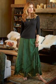 Slimming Sandwashed Skirt from Soft Surroundings