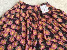 LuLaRoe Small Madison Skirt - Purple Background with Pink & Yellow Floral Print #LuLaRoe #FullSkirt