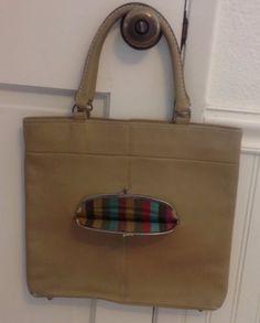 Rare-Vintage-70s-Tan-BONNIE-CASHIN-Slim-Shopper-Tote-w-Striped-Lining