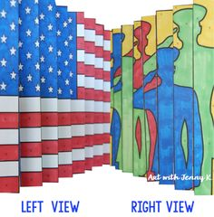Memorial Day art projects for kids. Patriotic agamograph from Art with Jenny K.
