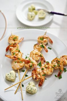 Grilled Shrimp Skewers with Herb Butter Hearts