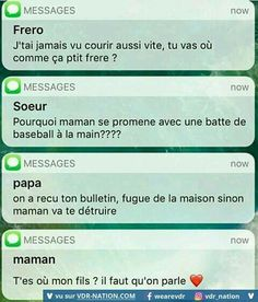 Need to learn what this says! Funny Sms, Funny Text Messages, Funny Jokes, Funny Humour, Lol, Friendzone, French Quotes, Geek Humor, Funny Facts