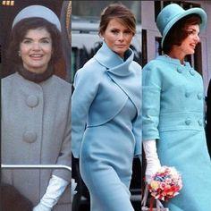 Develado el Secreto!! Despues que algunos diseñadores se negaran a vestirla. Fue Ralph Lauren quien dijo: Si! Melania Trump ha optado por un vestido de color babyblue de este diseñador muy al estilo Jackie Kennedy que acompaña con una chaqueta (torera) del mismo color y unos guantes. Melania ha hecho un guiño claro a la elegancia de siluetas geométricas de Jackie Kennedy su musa confesa y al color que esta primera dama eligió en 1961 para la posesión del entonces presidente John F. Kennedy…