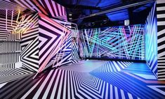 Enter the 'Razzle Dazzle' World of MCM Hong Kong, the dynamic Tobias Rehberger-designed MCM store operating as a satellite exhibition space during Hong Kong's Art Basel Exhibition Display, Exhibition Space, Museum Exhibition, Sitemap Design, Tobias Rehberger, Dazzle Camouflage, Hong Kong Art, Nightclub Design, Razzle Dazzle