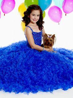 MZ0742 Royal Blue Organza Ball Gown Beaded Rhinestones Puffy Flower Girl Dresses 2014 Custom Made $129.99