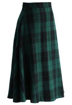 Green Tartan A-line Midi Skirt - Retro, Indie and Unique Fashion