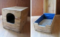 Is your cat's litter box a stinky eyesore, no matter how much you clean it? Get creative with these DIY solutions to hide your cat's litter box. Diy Litter Box, Hidden Litter Boxes, Litter Box Enclosure, Best Cat Litter, Cat Hacks, Wine Case, Cat Room, Diy Box, Cat Furniture