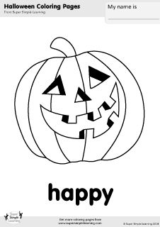Free happy jack-o'-lantern coloring page from Super Simple Learning. Tons of Halloween worksheets, flashcards, and crafts at www.supersimplelearning.com/resource-room. #emotion #kindergarten #preK #ESL