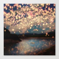 Love Wish Lanterns Canvas Print ($159) ❤ liked on Polyvore featuring home, home decor and wall art