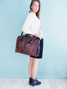The Vagabond 24 hour bag Vintage style brown by VintageChildShop