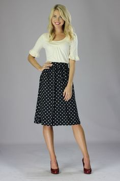 Modest Chiffon Skirt in Navy Polka Dot
