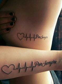 Matching heartbeat tattoos with my sister ❤                                                                                                                                                                                 Mais