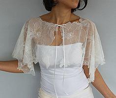 Sheer Lace Bridal Cape, Cream, Off White Tulle Bolero, Cover-up, Shrug, Weddings Wear Stole. Handmade