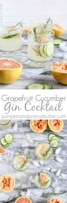 This Grapefruit Cucumber Gin Cocktail is so fresh and flavorful and perfect for spring! It's made with fresh grapefruit juice and cucumber seltzer. #gincocktails
