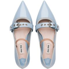 MIU MIU Patent leather Mary Jane ballerina with 15 mm heel. The strap adds a punk vibe that contrasts with the classic shape of the shoe. Strappy Flats, T Strap Flats, Ballerina Shoes, Ballet Flats, Sock Shoes, Shoe Boots, Flat Shoes, Salvatore Ferragamo, Jimmy Choo