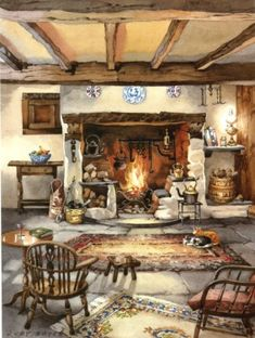 'My Old Fireplace' by contemporary English artist Judy Boyes