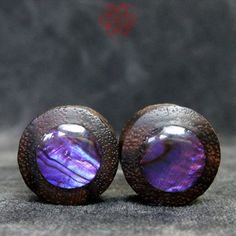 9/16 Wood Plugs Purple Paua Shell Inlay Ear by PiercedEyeDesign